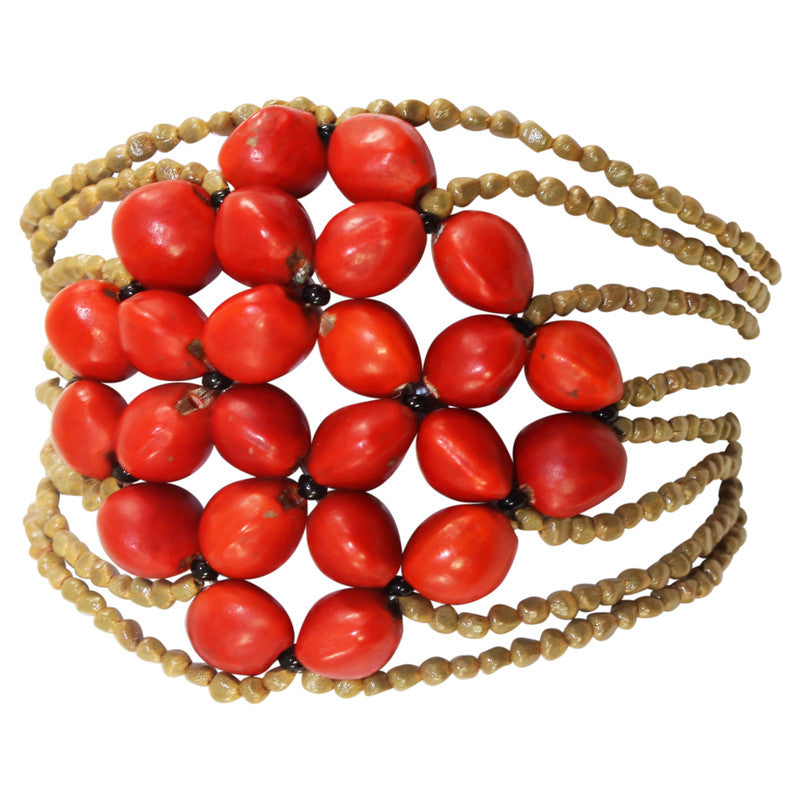 Eco-friendly Good Luck Bracelet for Women w/Meaningful Huayruro Red Seeds - Peru Gift Shop
