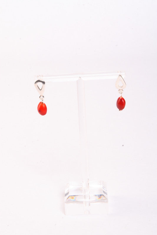 Tear Drop Sterling Silver Dangle Red & Black Good Earrings