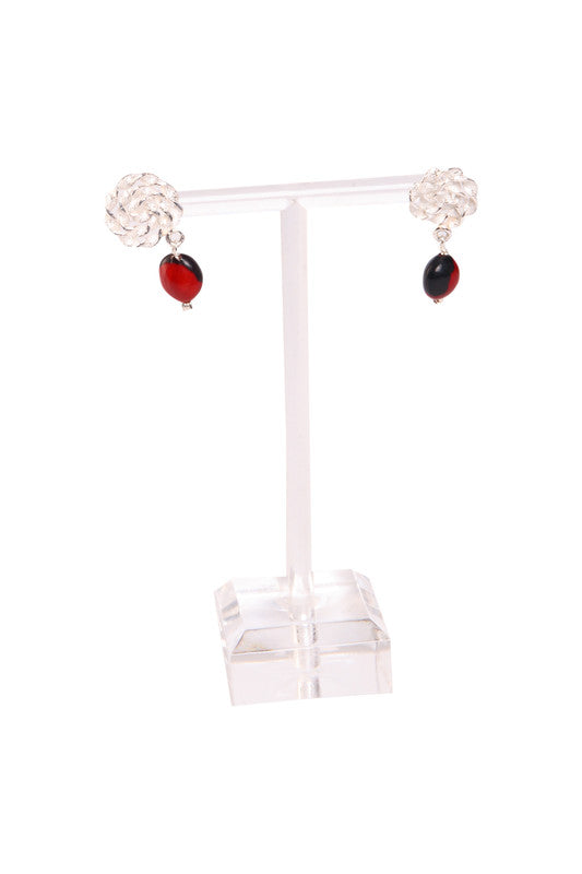 Nazca Infinity Sterling Silver Dangle Red & Black Good Earrings