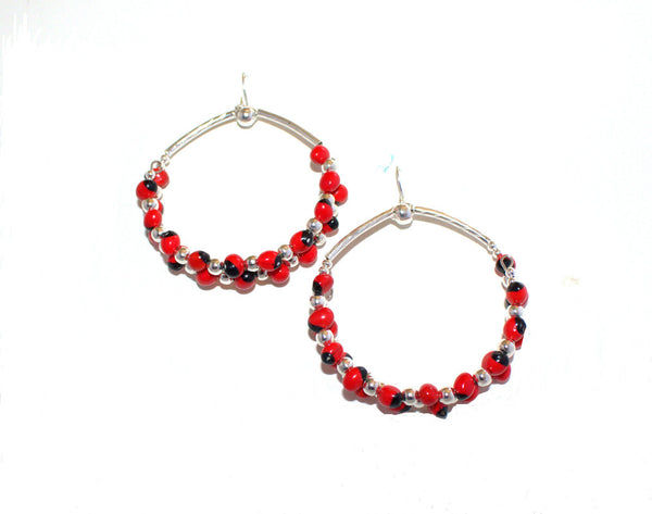 Long Drop Hoop Sterling Silver Dangle Red & Black Good Luck Earrings 2.5""