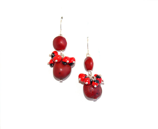 Dangle Long Drop Red & Black Good Luck Earrings