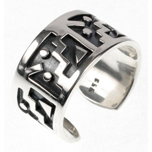 """Moschik"" Peruvian Inspired Geometric Unisex Sterling Silver Ring - EvelynBrooksDesigns"