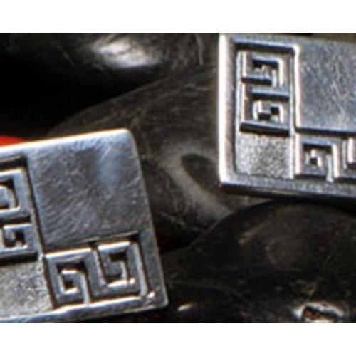 """Moschik"" Peruvian Inspired L Shaped Sterling Silver Cufflinks - EvelynBrooksDesigns"
