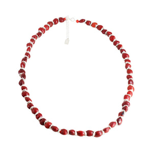 "Sterling Silver Classic Red & Black Good Luck Necklace 16""-18"""