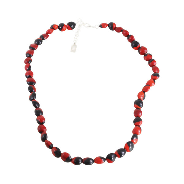 "Classic Ecofriendly Red & Black Good Luck Necklace 16""-24"""