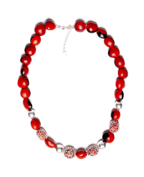 "Classic Hand-Crochet Elegant Red & Black Good Luck Necklace 16""-20"""