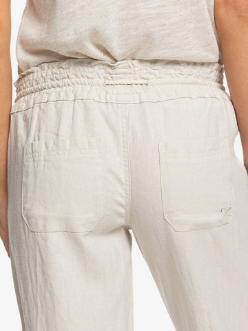 Roxy Oceanside Pant - Flared Linen LOGO embroidery pocket