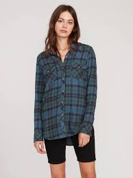 Volcom Getting Rad Plaid Ladies Flannel Shirt