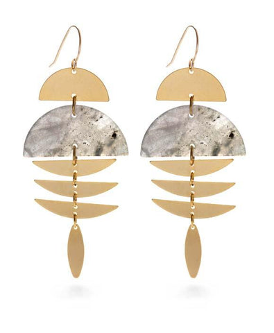 Labradorite & Gold Pisces Earrings