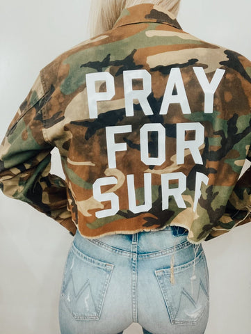 PCH The Label Pray For Surf Crop Camo Jacket