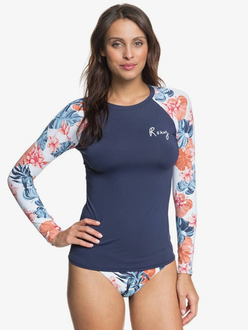 Roxy Fashion L/S Lycra Navy/Floral UPF 50