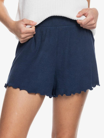 Roxy Ladies Cozy Day Rib Knit Lounge Shorts Indigo