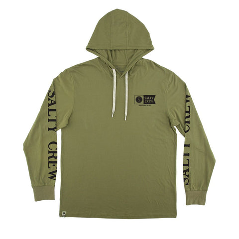 Salty Crew Alpha Refuge Boys Hood Tech Tee Green
