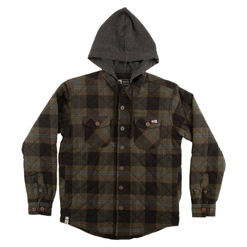 Salty Crew Dock Flannel Boys Olive Jacket