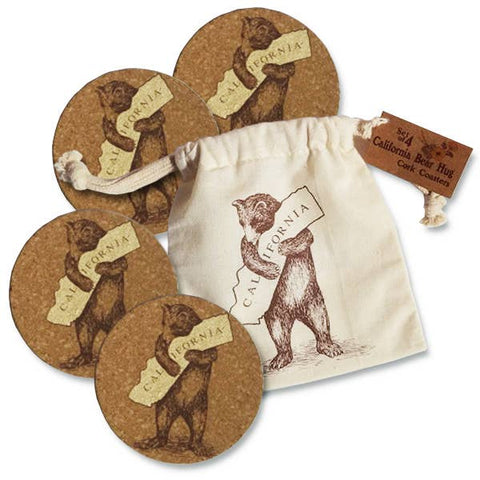 Set/4 CA Bear Cork Coasters in Drawstring Pouch