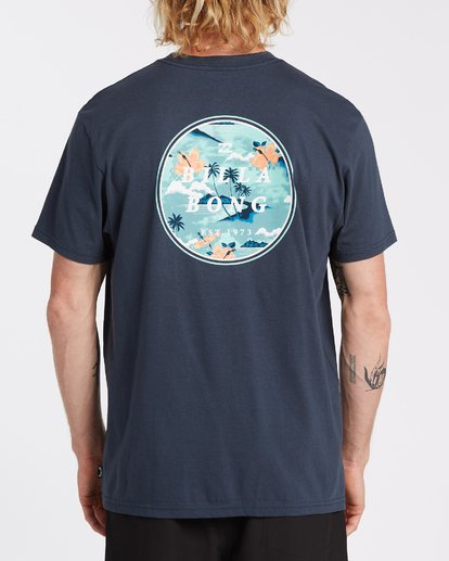 back of shirt large circle graphic with hawaiian scene in shades of blue billabong in white