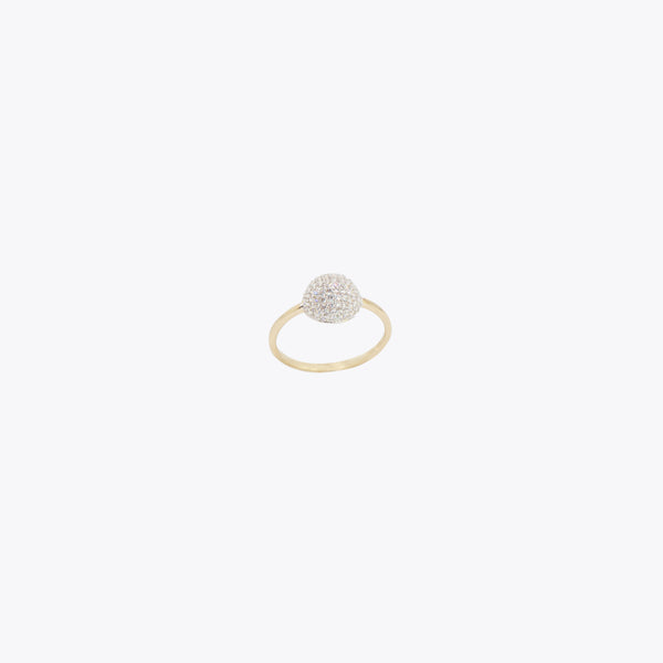 14K Gold & CZ Sphere Ring