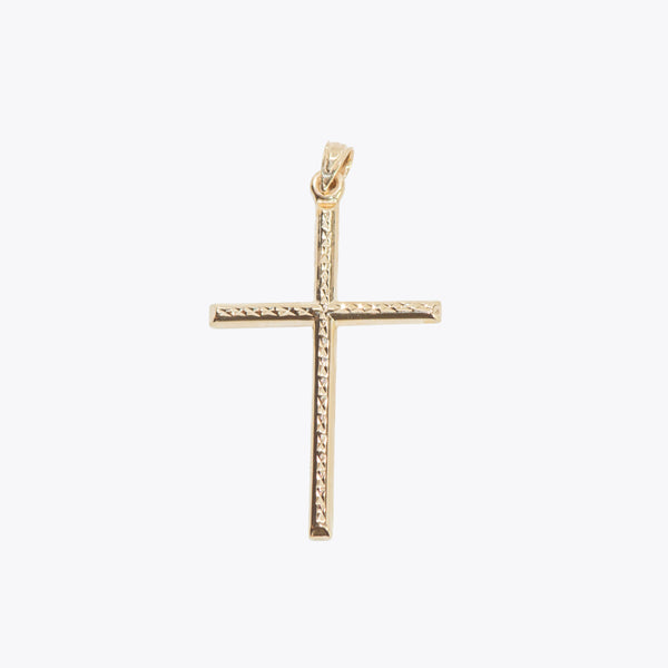 Hollow Diamond Cut Cross Pendant