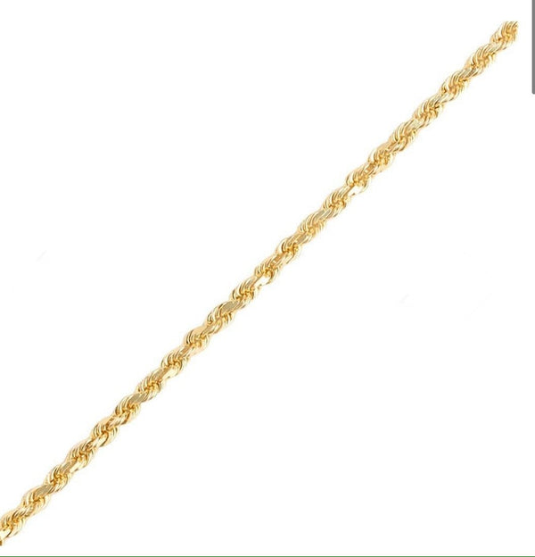 4mm 10k Yellow Gold Rope Chain Necklace 24""