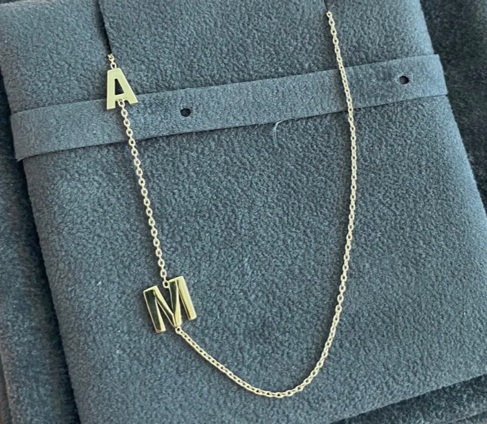 ASYMMETRICAL DOUBLE INITIAL NECKLACE