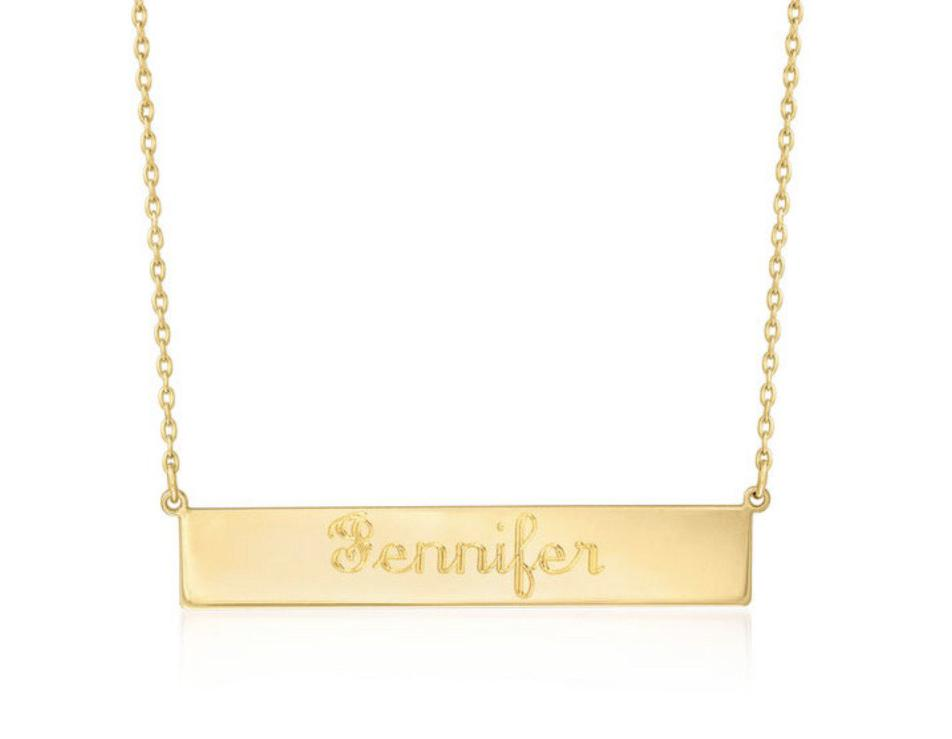 SCRIPT GOLD BAR NECKLACE