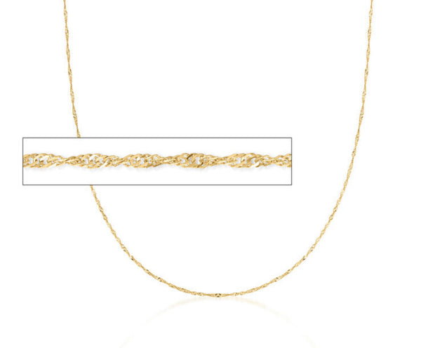 14kt Gold Diamond-Cut Singapore Chain Necklace