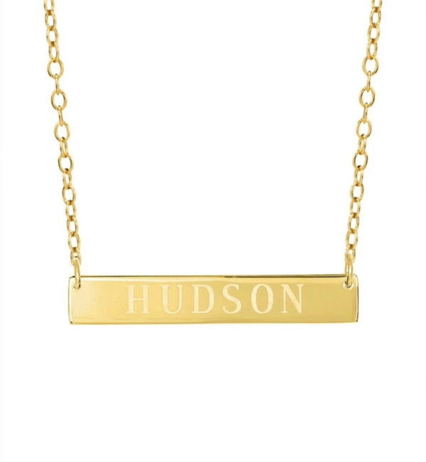 BLOCK LETTER GOLD BAR NECKLACE