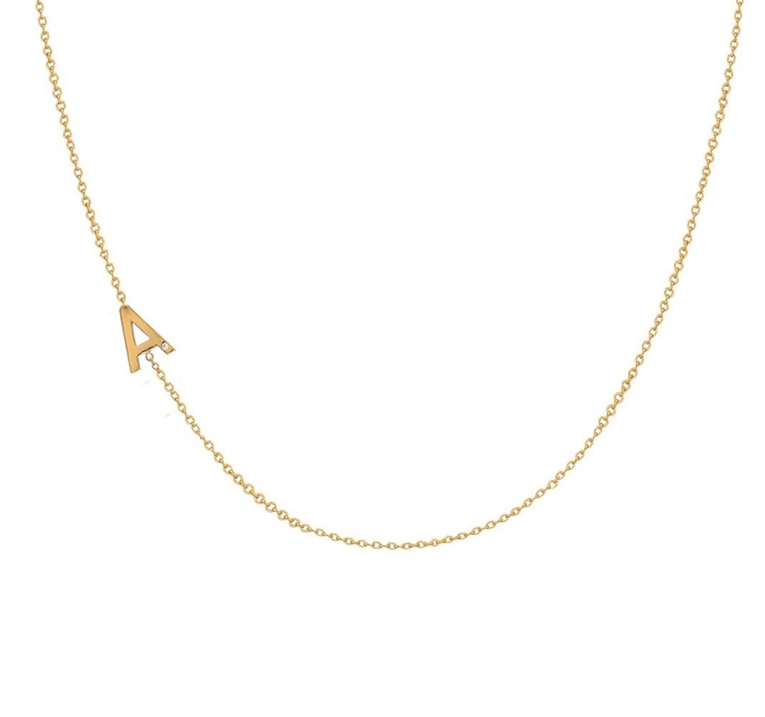 ASYMMETRICAL INITIAL NECKLACE