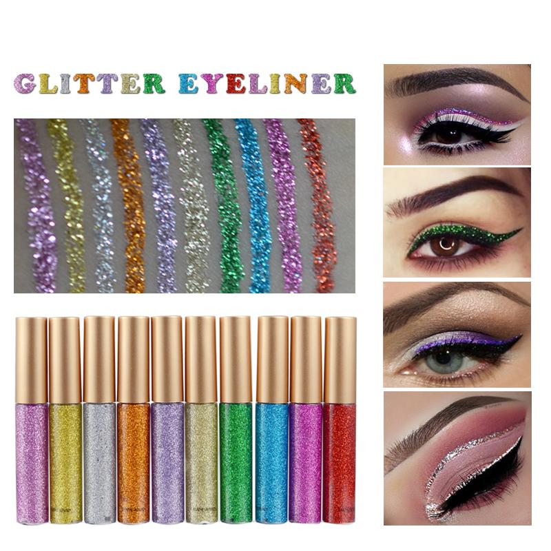 1 Pieces Liquid Eyeliner Pen Glitter 10 Colors Metallic Glow Eyeshadow
