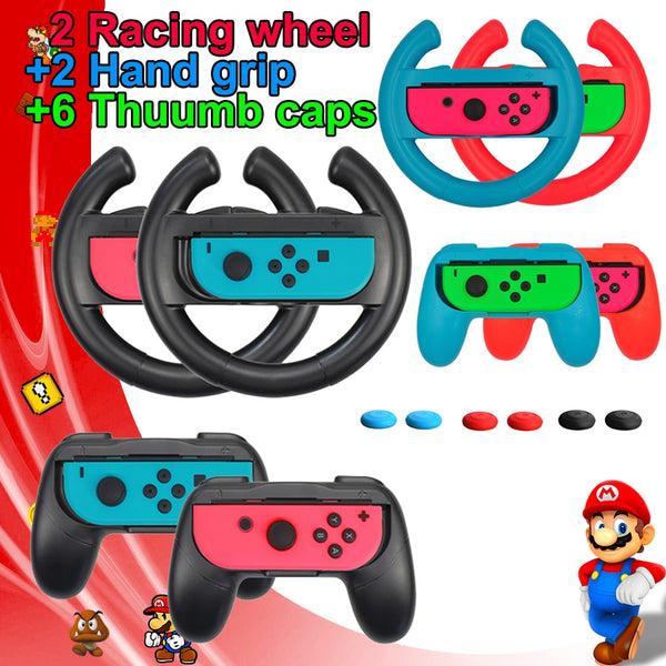 10 in 1 for Switch Accessories Racing Steering Wheel Handle Grips Thumb Caps