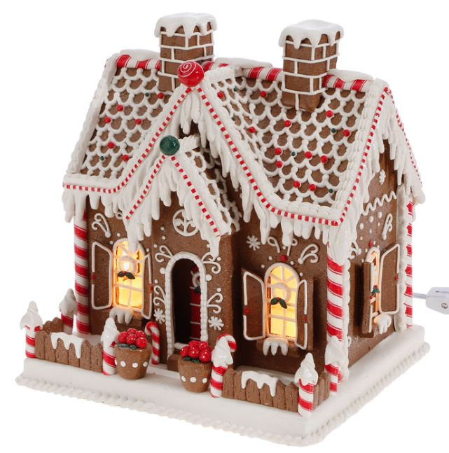 "Lighted Ginger Bread House - 11"" - The Kemble Shop"