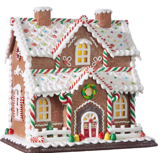 "Lighted Ginger Bread House - 12.25"" - The Kemble Shop"