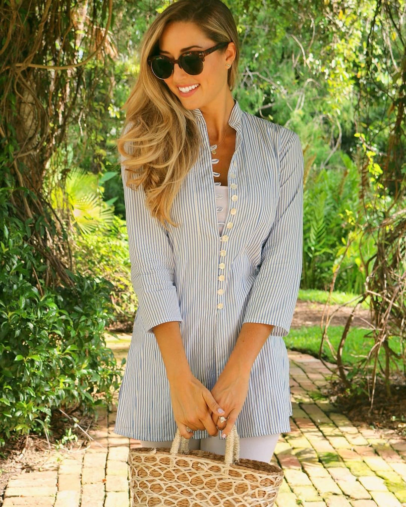 Blue Thick Striped Palm Beach Tunic - The Kemble Shop