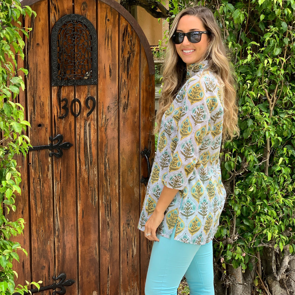 Blue and Turquoise Floral Palm Beach Tunic - The Kemble Shop
