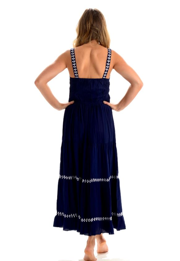 Brooke Dress/ Indigo Embroidered - Walker & Wade - The Kemble Shop