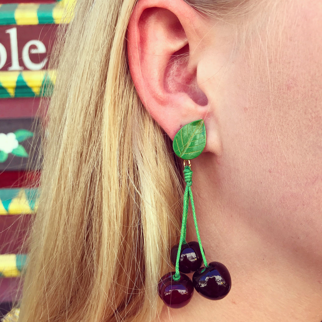 Cherry Leaf Earrings - thekembleshop-2