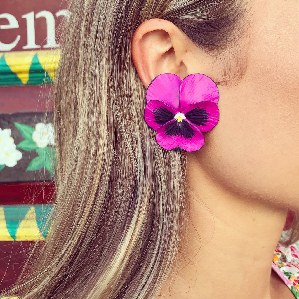 Magenta Large Pansy Earring - The Kemble Shop