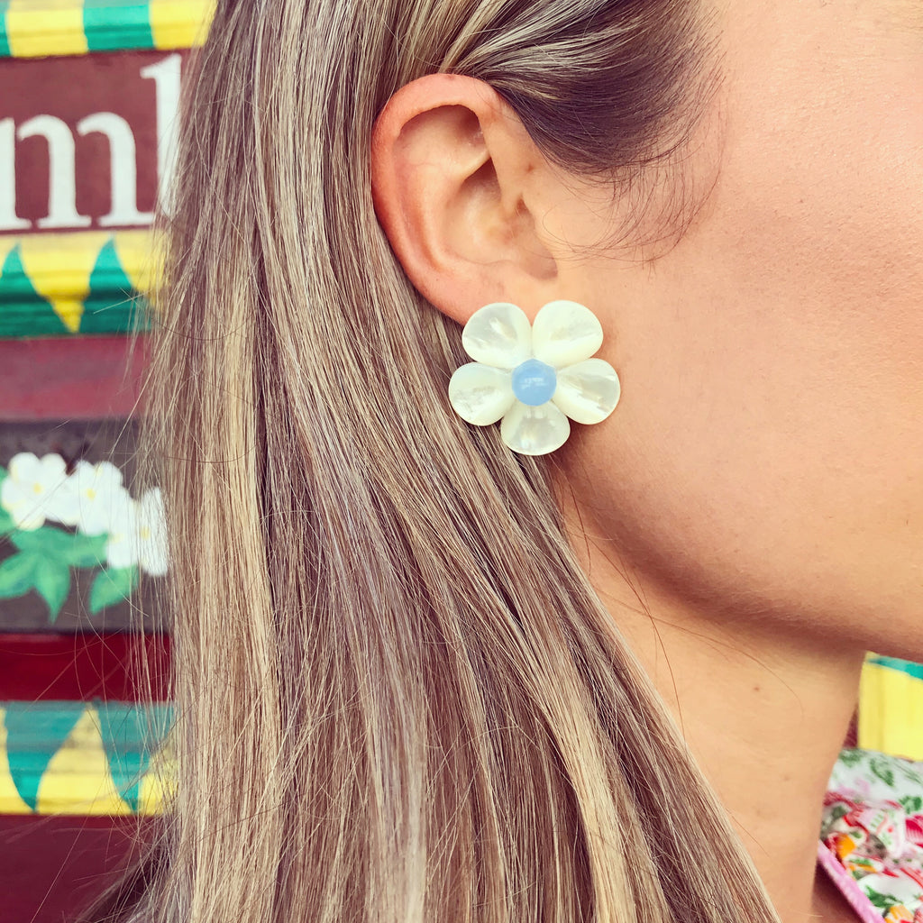 Polly Baby Blue Bead Earrings - The Kemble Shop