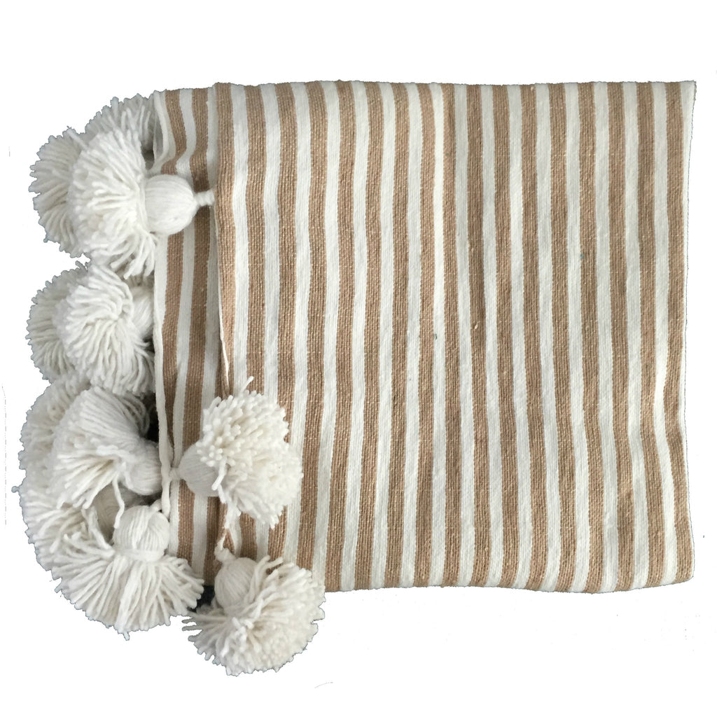 Natural Pom Pom Throw - The Kemble Shop