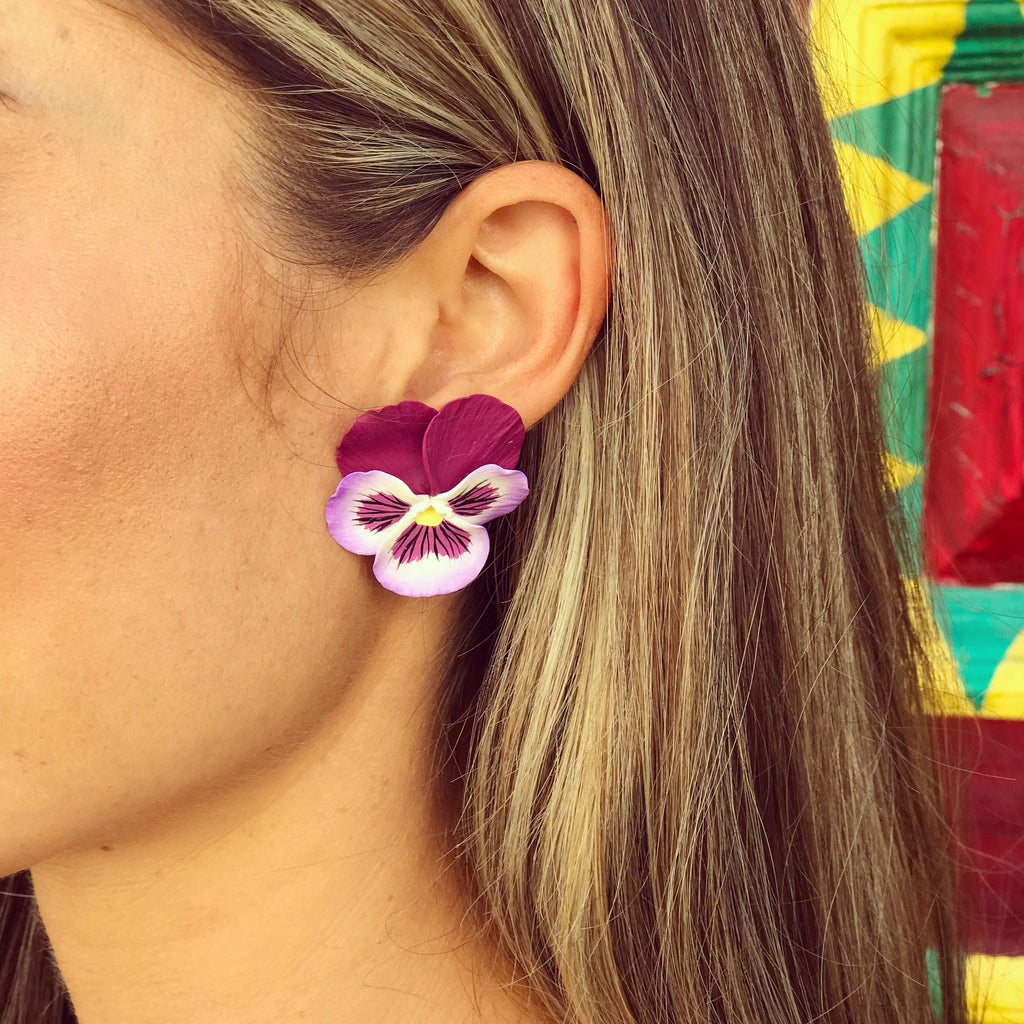 Deep Purple and White Large Pansy Earring - The Kemble Shop