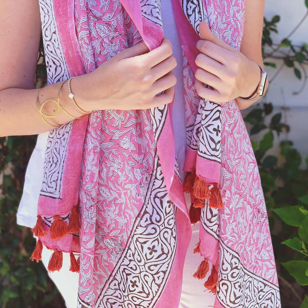 Pink Summer Tassel Scarf or Sarong - The Kemble Shop