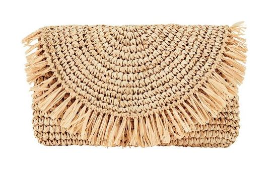 Rattan Woven Half Moon Tote w/Fringe - The Kemble Shop