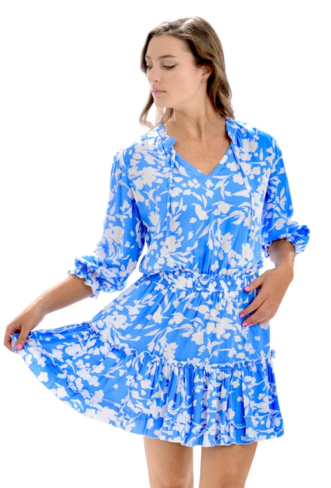 Cornflower Blue Ibiza Dress - Walker & Wade - The Kemble Shop