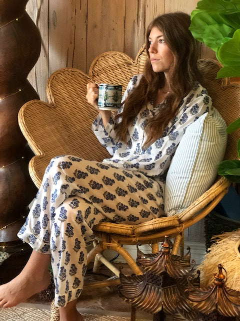 Blue and White Flowered Palm Beach Pajamas - The Kemble Shop