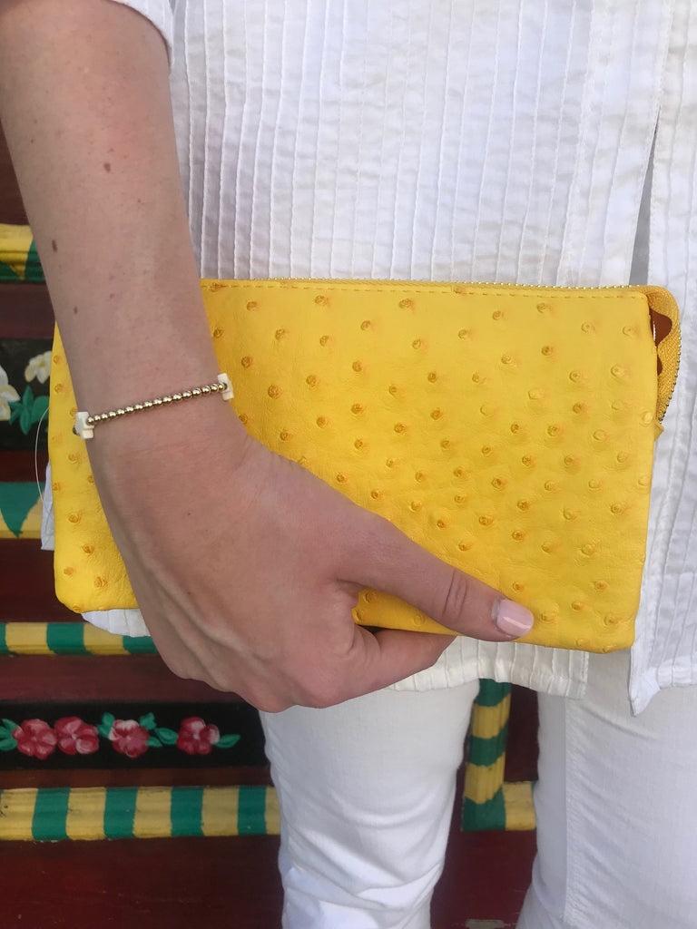 Citrus Small Faux Ostrich Clutch w/Tassel - The Kemble Shop