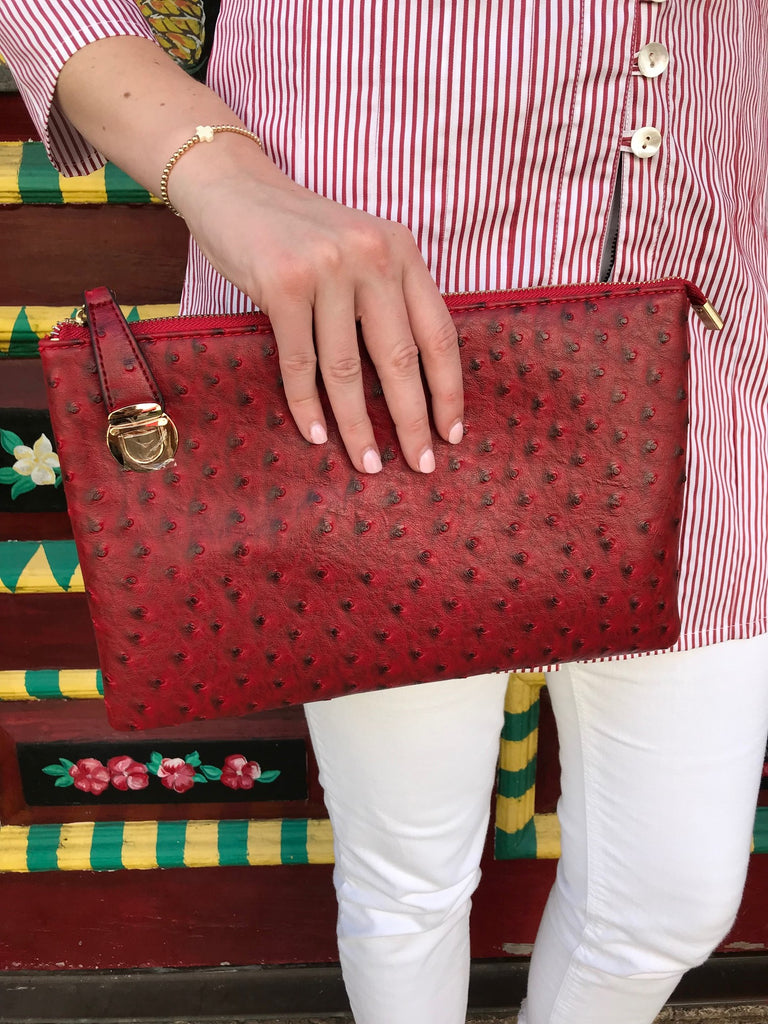 Red Large Faux Ostrich Clutch w/Tassel - The Kemble Shop