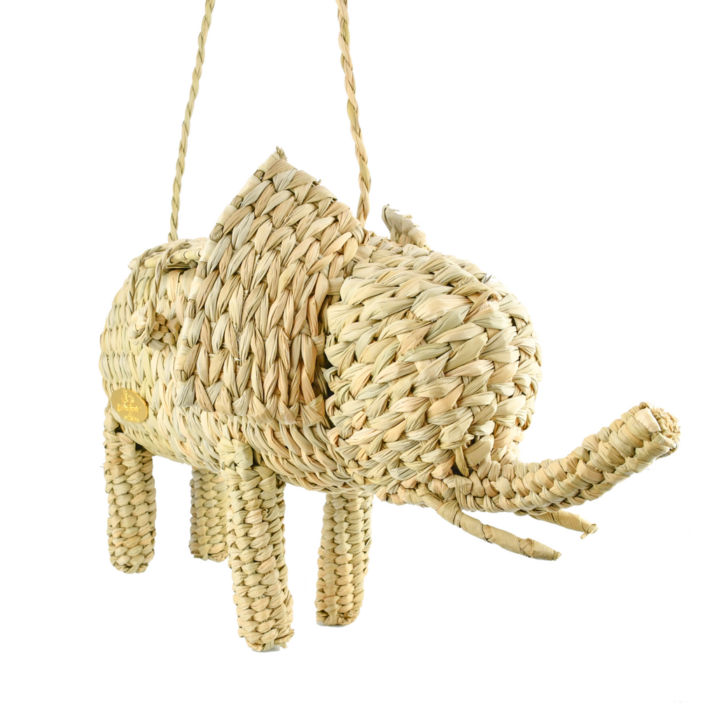 Wicker Straw Elephant Handbag - The Kemble Shop