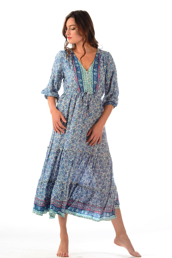 Sky Blue Multi Carrie Dress - Walker & Wade - The Kemble Shop
