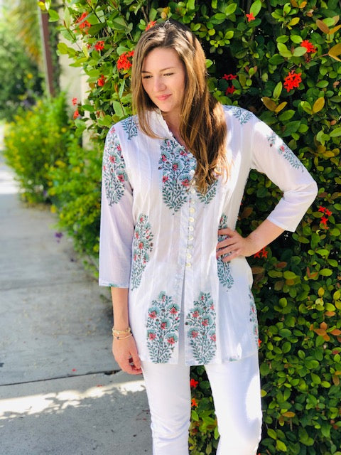 Orange Floral Palm Beach Tunic - The Kemble Shop