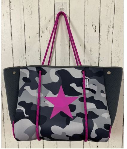 Black Camouflage Neoprene Pink Star Beach Tote - The Kemble Shop